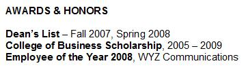 Optional Resume Sections Awards Amp Honors
