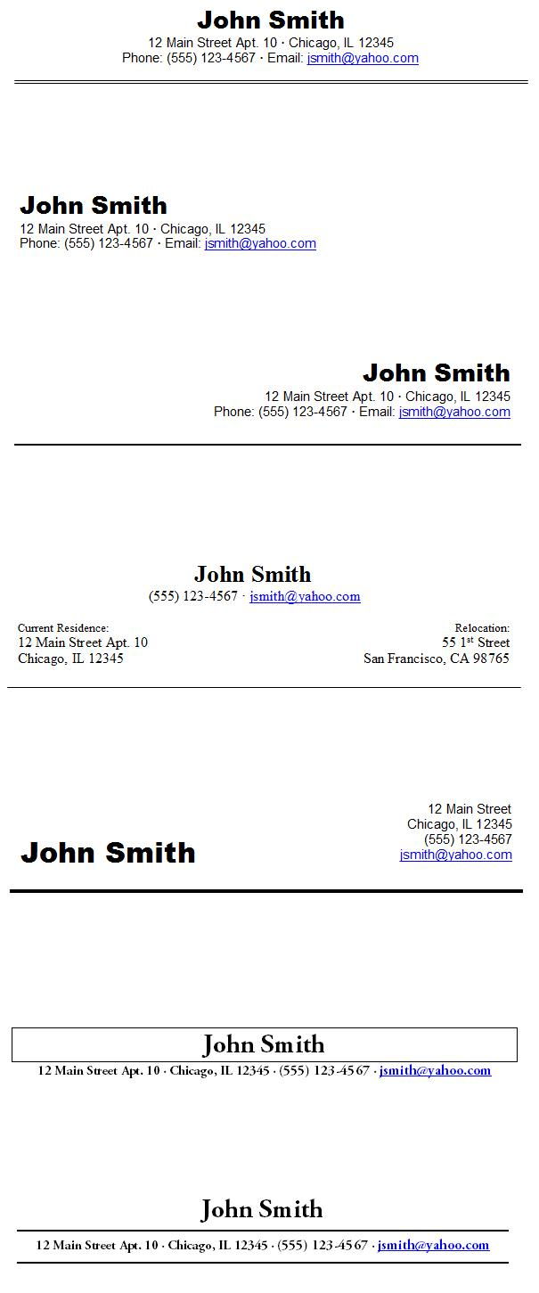 resume heading samples - Resume Header