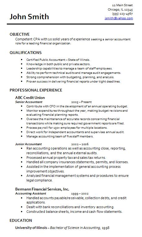 Wonderful Accounting Resume Sample Regarding Cpa Resume Examples