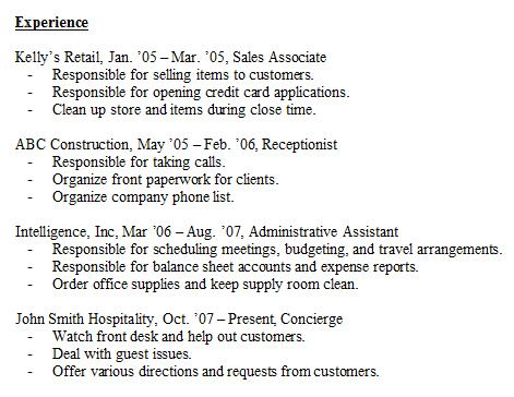 example of resume experience april onthemarch co