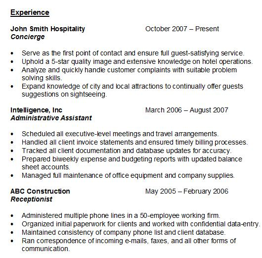 Superb Back To Resume Experience  Resume Experience