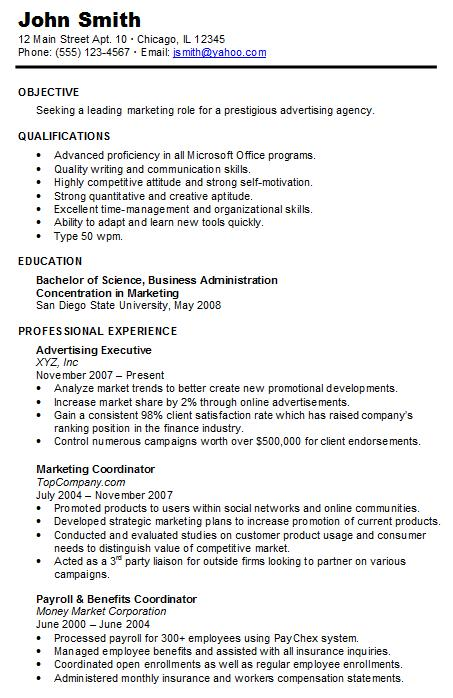 chronological resume sample - Sample Chronological Resume Template