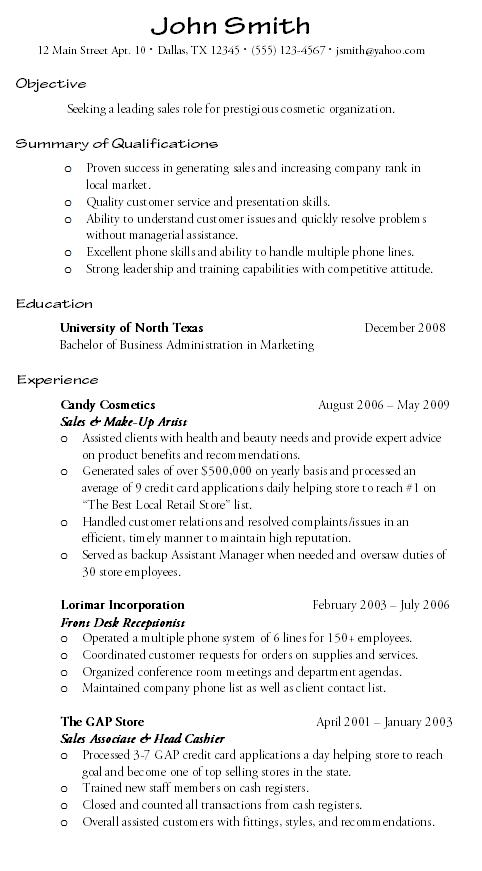 credit card customer service resume