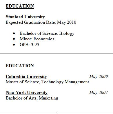 Resume Education  What Does A College Resume Look Like