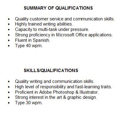 Summary Of Qualifications For Students Skills Examples