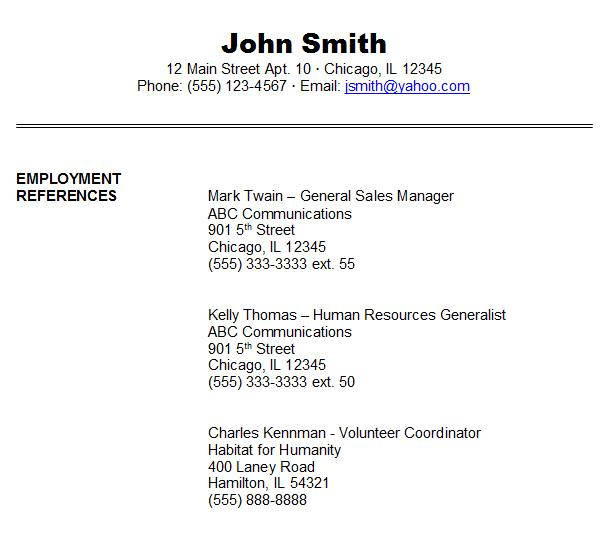Listing References On Resume: Job Reference Example