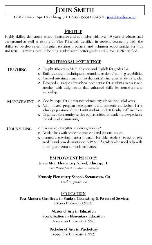 Sample Teacher Resume. 19 Best Professional Images On Pinterest