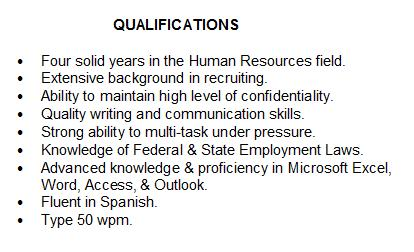 you can choose to do bullet style like these - Example Qualifications For Resume