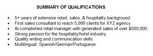 job qualification examples