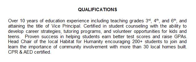 summary of qualifications example